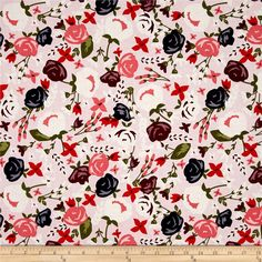 Riley Blake Posy Garden Main Pink from @fabricdotcom  Designed by Carina Gardner for Riley Blake Designs, this cotton print collection features sweet floral prints and colorways. Perfect for quilting, apparel, and home decor accents. Colors include shades of pink, cream, navy, plum, and olive green.