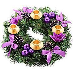 New Purple Ribbon Christmas Advent Wreath - Advent Calendar Season Candle Holder ? Advent Candle Holder X-mas Candles Decorations online shopping - Findtopbrandsgreat Advent Wreath Candles, Christmas Advent Wreath, Christmas Crafts, Christmas Decorations, Christmas Countdown, Christmas Ideas, Taper Candle Holders, Candle Set, Purple Christmas