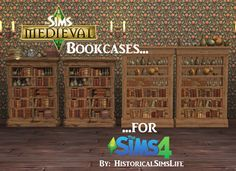 TS4: The Sims Medieval Bookcases for Sims 4 - History Lover's Sims Blog