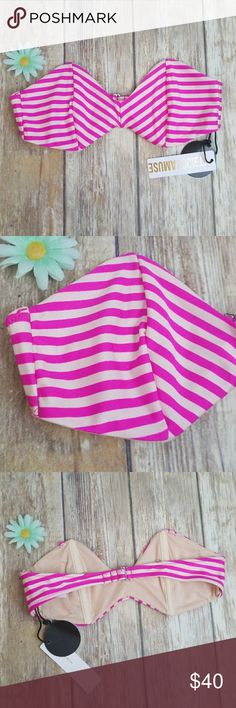 Amuse society bikini Brand new patterned top can use straps doesn't come with straps Amuse Society Swim Bikinis