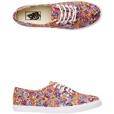 Vans Ditsy Floral Authentic Lo Pro Shoe ($55) ❤ liked on Polyvore featuring shoes, sneakers, purple, flower print sneakers, lace up sneakers, purple shoes, laced shoes and vans shoes