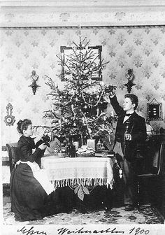 """The first card shows the young and newly married couple - Richard sports a silver topped cane and Anna lift up Meitz, her cat, to show him the various gifts they have received. The house is sparsely decorated but comfortable."" I love this picture. But I have to wonder, did Anna know how much King Ludwig loved her husband?"
