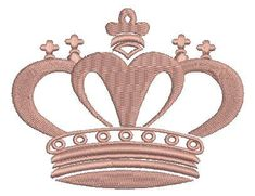 pink crown embroidery design -   2 sizes - 4inc. & 7 inc.