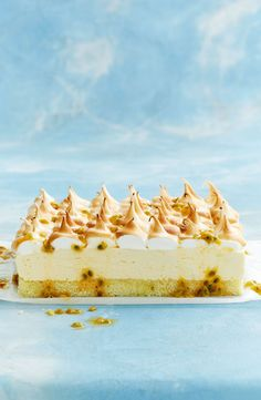 This cake has a big lemon flavour that's offset by the sweet meringue topping, which you could also spoon on and swirl into peaks. Lemon Recipes, Sweet Recipes, Cake Recipes, Dessert Recipes, Just Desserts, Delicious Desserts, Food Styling, Tiramisu, Desserts