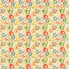 'Portobello' shows simplified lino printed shapes of fruit and vegetables. It has been coloured in both monotone and multi-coloured versions, is printed on 100% cotton and has a matching wallpaper.