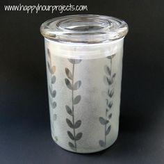 DIY Glass DIY Frosted Vine Glass Jar DIY Glass