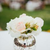Pink and White Flowers in Mercury Glass Vase