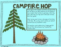 """Need a great movement activity to get your kids up?!  Have a """"camping"""" themed day planned?  This activity will be perfect for your kids!Kids will hop to letters that you would spread out in the room to make words.  They will HOP back to their seats to record what they spelled!"""