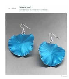 Beautiful Blue Lily Pad Aluminum Earrings Shown by #Etsy #Aluminum #Handmade #Style https://www.etsy.com/listing/181757265