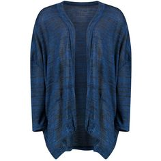 Boohoo Jessica Marl Oversized Cardigan ($16) ❤ liked on Polyvore featuring tops, cardigans, oversized crochet cardigan, blue top, boyfriend top, batwing tops and oversized cardigan
