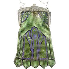 1920's Enameled Mesh Art Deco Purse Green, Purple & Black by Whiting & from evedovegems on Ruby Lane