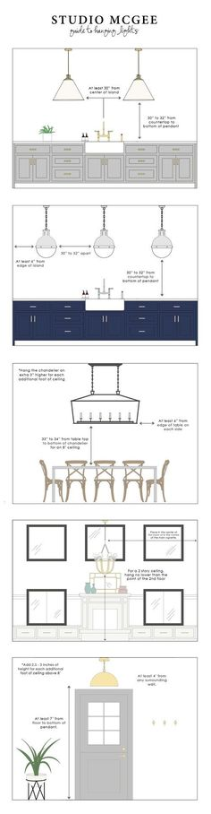 Hang chandelier 34 inches from the bottom of fixture to top of dining table. Studio McGee | Guide to Hanging Lights
