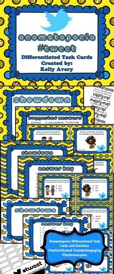 Onomatopoeia Differentiated Task Cards Word Work Work on Words #teachersfollowteachers #teacherspayteachers #tpt #iteachtoo (grade 3 art figurative language)