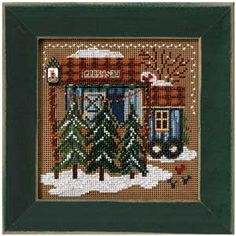 Tree Farm, Christmas Village, counted cross-stitch