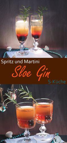 Rezept für Sloe Gin Spritz und Sloe Gin Martini Aperitiv
