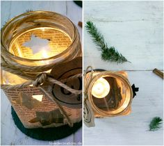 Adventskranz: Teelicht-Glas // DIY Advent Wreath: Tea Light Candle