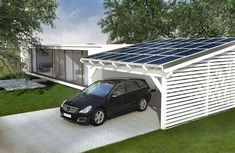 Solar carport to generate energy yourself. In a carport, a shed or an attic can be integrated. There are wooden carports, Sta .