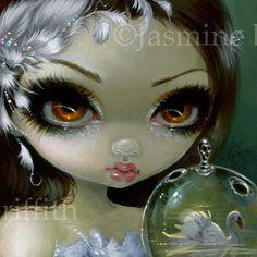 Visages de l'art de Faery 193 fée visage imprimer en grand oeil de Jasmine Becket-Griffith 6 x 6 cygne blanc ballet