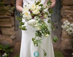 Trailing natural bouquet with passion flower foliage