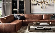 Brown Leather Couch Restoration Hardware Source by canelomarquee Brown Leather Couch Living Room, Brown Living Room, Living Room Design Modern, Living Room Leather, Leather Living Room Furniture, Basement Living Rooms, Brown Couch Living Room, Restoration Hardware Living Room, Leather Couches Living Room