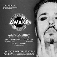 """Artwork of an event series called """"AWAKE"""". Client: CHARLY BROWN, Aachen - Date: 03/014"""