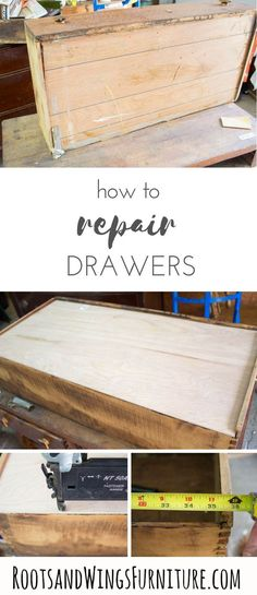 repair furniture How to repair and re-construct drawers by adding a new drawer bottom. Drawers can be a hard to repair, but an old piece sometimes has lots of issues. Learn a few furniture repair tricks to help you make that piece functional again!