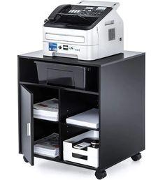 Fitueyes File Cabinet Mobile Printer Stand with storage on wheels 3 Shelf Multiple finishes Black Door Storage, Office Storage, Desk Organization, Storage Drawers, Storage Spaces, Locker Storage, Organizing, Storage Cart, Printer Cart