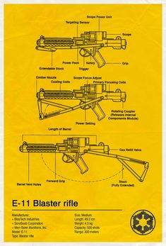 Star Wars Blue Print Designs - E-11 Blaster Rifle | source: http://www.flickr.com/photos/85791047@N00/