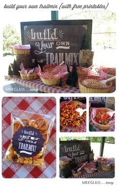 Build your own trail mix - what a cute idea by Milkglass and Honey - plus it's a free printable and SO cute!