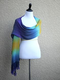 Woven wrap with gradually changing colors from dark blue to mint and yellow colors. This women wrap is a perfect gift for her, gift for women.  You can wear it as a scarf, ... #kgthreads