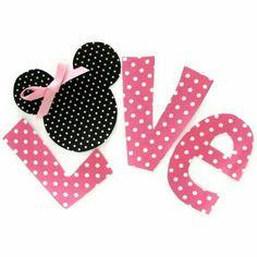 Love de Minnie Mouse cabeza moño blanco negro y Rosita