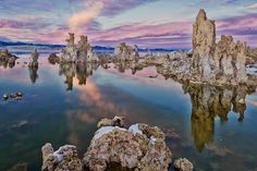 Beautiful photograph of Mono Lake with a purple Sunset.  Photography by Seth Hancock of Los Angeles, CA