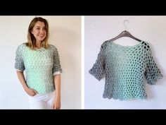 Looking for an easy crochet top pattern for beginners? This t-shirt is made with Lion Brand Scarfie yarn and is perfect for any season. Includes a video. Crochet T Shirts, Crochet Cardigan, Crochet Clothes, Crochet Tops, Knitting Videos, Crochet Videos, Easy Crochet, Free Crochet, Scarfie Yarn