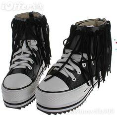 platform converse tassels Platform Converse, Platform Sneakers, High Top Sneakers, High Tops, Tassels, Shoes, Color, Fashion, Moda