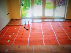 An Allbrite Electric Ribbon Underfloor Heating project, mid installation. Electric Underfloor Heating, Underfloor Heating Systems, Types Of Flooring, Ribbon, Traditional, Tape, Band, Ribbon Hair Bows, Bows