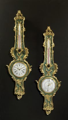 A Very Fine Antique Louis XV Style Gilt-Bronze  Mounted Green Stained Horn Clock and Barometer Set. French, Circa 1880.