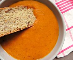 The Best Roasted Tomato Soup  This Healthy Roasted Tomato Soup is creamy, hearty, naturally #vegan & #gluten-free, boasting with nutritious flavor and is best served alongside a warm piece of homemade, perfect-for-dipping-crusty bread.