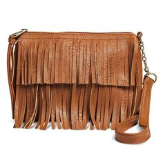 Women's Fringe Crossbody Handbag - Cognac