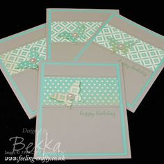 Birthday Cards made with Scraps of Patterned Paper by Stampin' Up! Demonstrator Bekka Prideaux - check her blog for lots of cute ideas