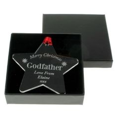 Engraved Christmas Star Decoration – Godfather  from Personalised Gifts Shop - ONLY £9.95