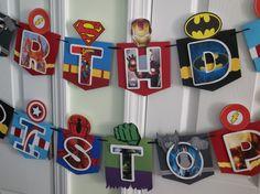 Superhero banner, birthday banner, superhero by CreationsClaudiaR on Etsy