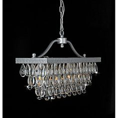 Crystal Glass Drop 3-light Matte Silver Chandelier