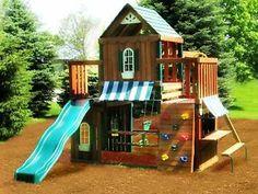 Cedar Wood Swingset Playset Rockwall Slide Deck   eBay