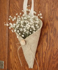 Khaki burlap pew cone with reclaimed wood button / rustic wedding decoration