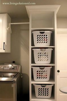 Laundry organization....I will have this one day! the door will still shut if i mount directly in corner