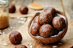 Raw vegan peanut butter oat coconut cacao balls by Arzamasova. the toning. Raw Energy, Energy Balls, Vegan Peanut Butter, Raw Vegan, Baked Potato, Coconut, Gluten, Sweets, Baking
