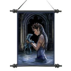 Gothic Water Dragon Canvas Wall Scroll Tapestry