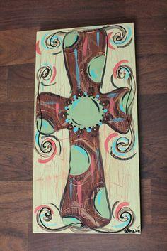Cross painting on wood Autumn Painting, Diy Painting, Painting On Wood, Star Painting, Cooler Painting, Cross Canvas Paintings, Canvas Art, Wood Paintings, Canvas Ideas