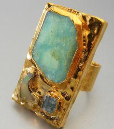 Materials: druzy, drusy, white, 24k, gold, edged, statement, aqua, blue, peruvian, opal, fire, apatite