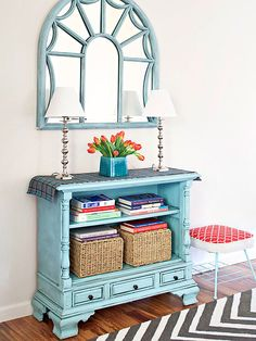 TV to Table - You'd never guess that this clever storage console was a console of a different kind in a past life. Blogger Beckie Farrant (infarrantlycreative.net) removed the workings out of a vintage console TV, painted and glazed the frame, and created a brand-new storage console.